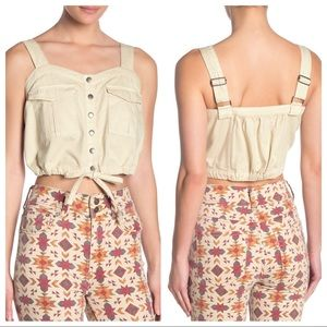 Free People Soft Solid Denim Utility Cropped Top